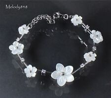 Tiffany Hall - Sterling Silver Mother-Of-Pearl White Flower Bracelet & GIFT BOX