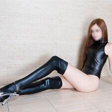 Sexy Women Lingerie PVC Leather Wet Look Bodysuit + Stockings Clubwear Sleepwear