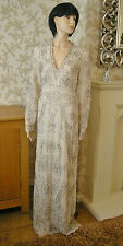 12 NEEDLE & THREAD DRESS CREAM SILVER BEADED V-NECK LONG SLEEVES VINTAGE GATSBY