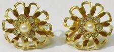 boucles d'oreilles à vis bijou vintage cristaux perle fleur couleur or * 5325