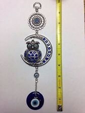 TURKISH GLASS EVIL EYE HANGING AMULET FOR GOOD LUCK AND PROTECTION W/OWL ON MOON