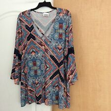 NEW Multi color printed women top crochet Navy lace on sleeves Plus Size 18/20W