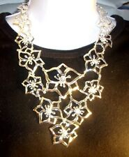 "WHITE HOUSE BLACK MARKET necklace 14"" silver tone w/ clear crystals signed NWT"