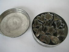 vtg metal MINI COOKIE CUTTERS heart star flower canape hors d'oeuvre tin box lot