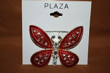 Butterfly Pin Brooch Red Sparkle Enamel Clear Crystals Free Shipping