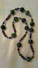 Vintage / Antique Olive Green Gemstone & Amethyst Bead Necklace Filigree Acents