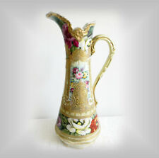 Nippon hand painted vintage ewer with heavy giold and beading - FREE SHIPPING