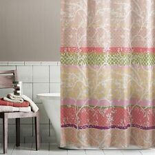 Home Classics Forest Hills Floral Vine Striped Fabric Shower Curtain NEW