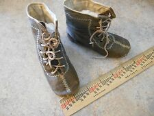 """4""""ANTIQUE VICTORIAN LEATHER BOOTS for LARGE FRENCH BRU JUMEAU BISQUE DOLL"""