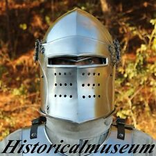 NEW NORMAN BARBUTE GREEK HELMET 18G STEEL WARRIOR ARMOR POLISHS COSTUME BSA7MSA