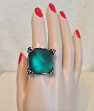 New ALEXIS BITTAR Emerald Green Lucite Crystal Encrusted Gunmetal Ring -Size 8.5