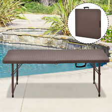 4' Folding Table Rattan Portable Indoor Outdoor Picnic Party Dining Camping