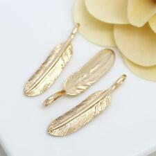 Fashion 24K Real Yellow Gold Plated Jewelry Pendant no Necklace Chain Feather KK