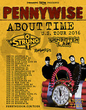 """PENNYWISE /STRUNG OUT """"ABOUT TIME U.S. TOUR 2016"""" CONCERT POSTER-Punk Rock Music"""