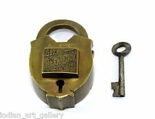 Antique Original Rare Push Button Tricky Hidden Keyhole Brass Pad Lock. G2-149