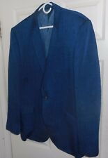 50'S-60's STANLEY BLACKER Blue Iridescent NUBBY FLECKED Sharkskin! 1 Button 44 L