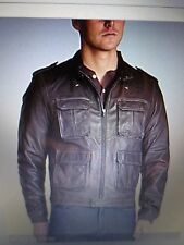 Robert Comstock Men's Medium size, Brown 100% Lambskin Leather Bomber Jacket NWT