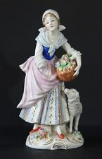 SITZENDORF PORCELAIN LADY FIGURINE WITH SHEEP  Has some damage