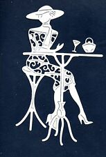 NEW TATTERED LACE  LADY AT TABLE  DIE CUTS -  TOPPER-/CHRISTMAS/GIRL/MOTHER