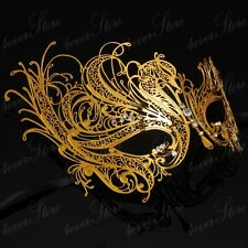 Womens Beautiful Swan Filigree Venetian Mardi Gras Metal Masquerade Mask [Gold]
