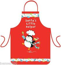 BOYS GIRLS CHILDREN'S SANTA'S LITTLE HELPER RED CHRISTMAS PENGUIN WIPEABLE APRON