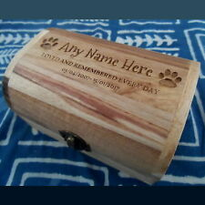 Varnished Memorial Wooden Pet Urn Cremation Ashes Cat Dog Ash Box Personalised
