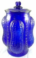 PLANTERS PEANUTS COBALT BLUE GLASS ADVERTISING GENERAL STORE NUTS COUNTER JAR