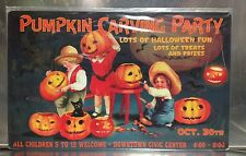 "16"" X 10 1/16"" TIN SIGN PUMPKIN CARVIN PARTY HALLOWEEN METAL SIGN NEW"