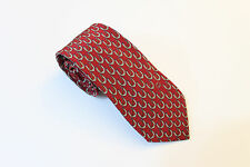 GUCCI BURGUNDY WINE & GRAY HORSE SHOE WHIP 100% SILK TIE MADE IN ITALY