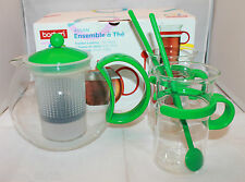 Bodum Assam Tea Pot Set 2 Glass Coffee Tea Mugs 2 Spoons Green 70 Years Limited
