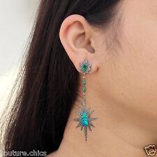 Emerald Opal Dangle Earrings 14k Gold Diamond Pave Star Sterling Silver Jewelry