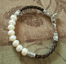 BRAIDED LEATHER WHITE PEARL & SILVER TONE BEAD BRACELET $16.99