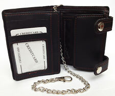 Black Gent Mens Card Note Zip Wallet High Quality Luxury Soft Leather With Chain