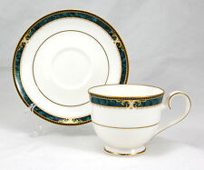 Noritake ESSEX COURT 4727 Footed Cup and Saucer Set 2.75 in. Teal Marbled Band