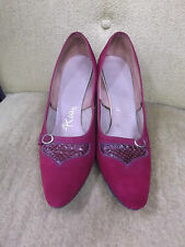 50s Raspberry Suede Short Heels w/ Reptile Inserts sz 7 1/2 N by Risque
