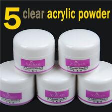 5pcs Clear Acrylic Powder Liquid Nail Art Tips UV Gel Decoration Kit Set Tool