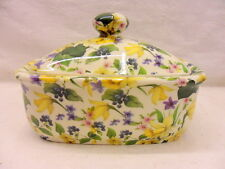 Spring daffodil chintz butterdish by Heron Cross Pottery