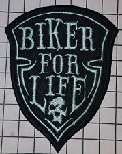 #882 Biker For Life Patch Iron Sew On Embroidered Badge Motorbike