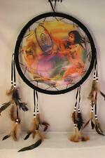"""3D Beauty & Wolf Dream Catcher w feathers wall hanging decoration ornament-28"""""""