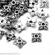 50 x 6mm Bead Caps Flower Spacer Beads Jewellery Findings Tibetan Silver Pattern