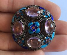 Vintage Old Chinese Silver Gold Gilt Asian Export Amethyst Enameled Pin Brooch