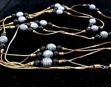 """Gorgeous Gold Tone Beaded 3 Strand Necklace Signed Korea 23"""""""