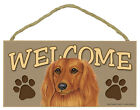 DACHSHUND Longhair Red Dog 5 x 10 Wood WELCOME SIGN Plaque USA Made