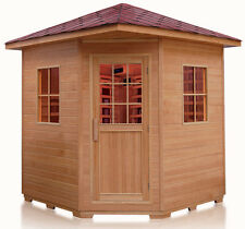 New Deluxe Four 4 Person FIR Far Infrared Outdoor Sauna Spa w/ Shingled Roof