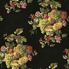 Colorful Fruit and Floral in Urn Wallpaper on Black Background   RK439