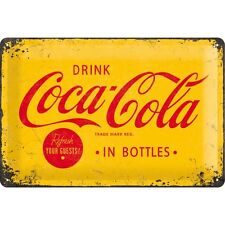 Coca Cola Logo Yellow Embossed Vintage Retro Metal Tin Sign Bar Pub Wall Decor