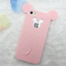 For iPhone SE / 5S - SOFT SILICONE RUBBER SKIN CASE COVER PINK MICKEY MOUSE EARS