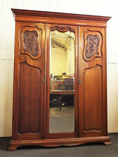 Antique large Victorian carved mahogany double door wardrobe