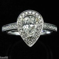 Pear Brilliant Diamond 14k White Gold Halo Engagement Ring Estate Wedding