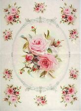 Rice Paper for Decoupage Decopatch Scrapbook Craft Sheet Vintage Rose in Frame L